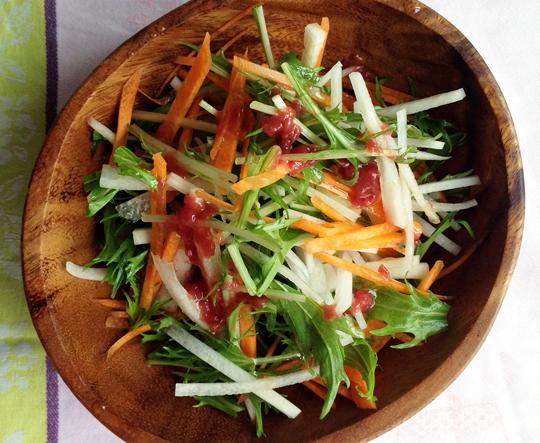 有機大根と有機水菜のサラダ 梅ドレッシング