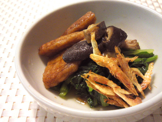 有機小松菜と桜エビの煮びたし胡麻の香りと共に
